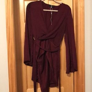 Missguided: Burgundy Dress with Bell Sleeves